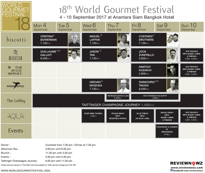 18th World Gourmet Festival Schedule