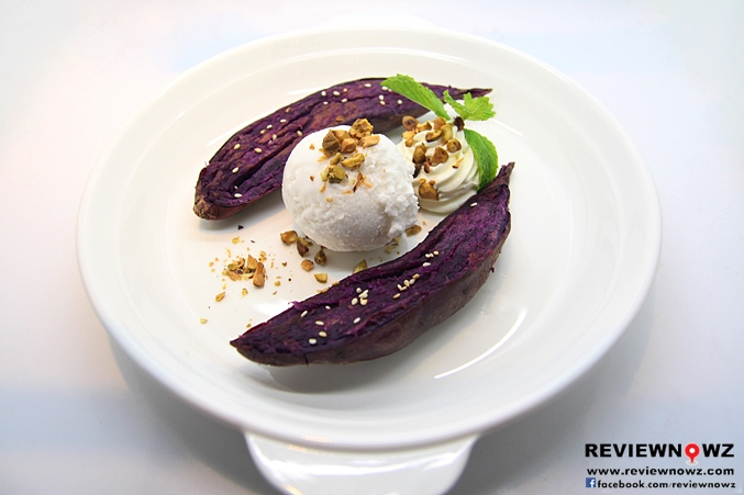 Grilled Japanese Sweet Potato with Young Coconut Ice Cream Pistachio